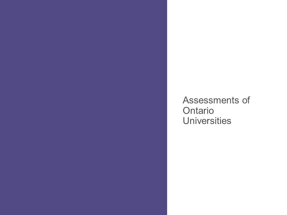Assessments of Ontario Universities