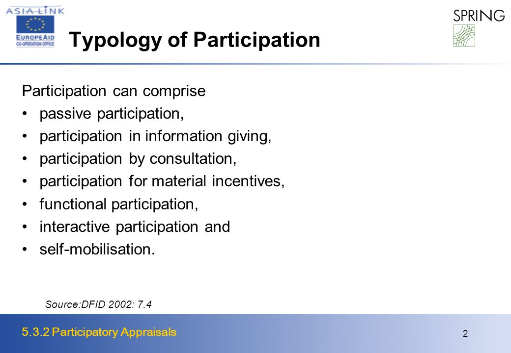 5.3.2 Participatory Appraisals 2 Typology of Participation Participation can comprise passive participation, participation in information giving, participation by consultation, participation for material incentives, functional participation, interactive participation and self-mobilisation.