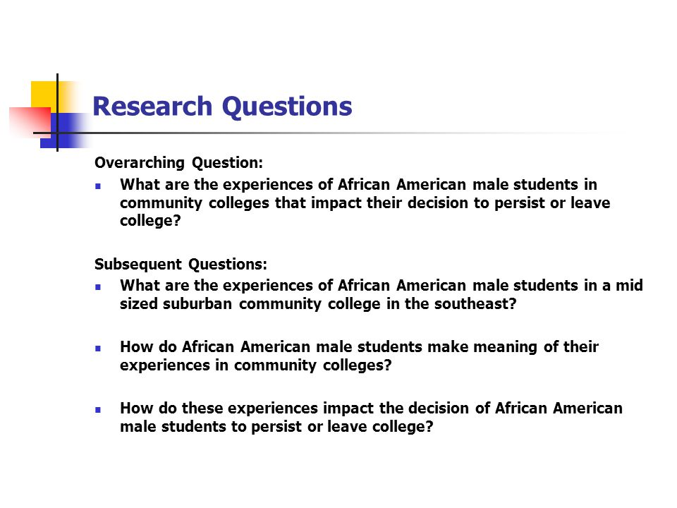 Research Questions Overarching Question: What are the experiences of African American male students in community colleges that impact their decision to persist or leave college.