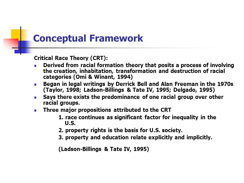 CRT Continued Five tenets of CRT 1.centrality of race and racism relative to subordination 2.