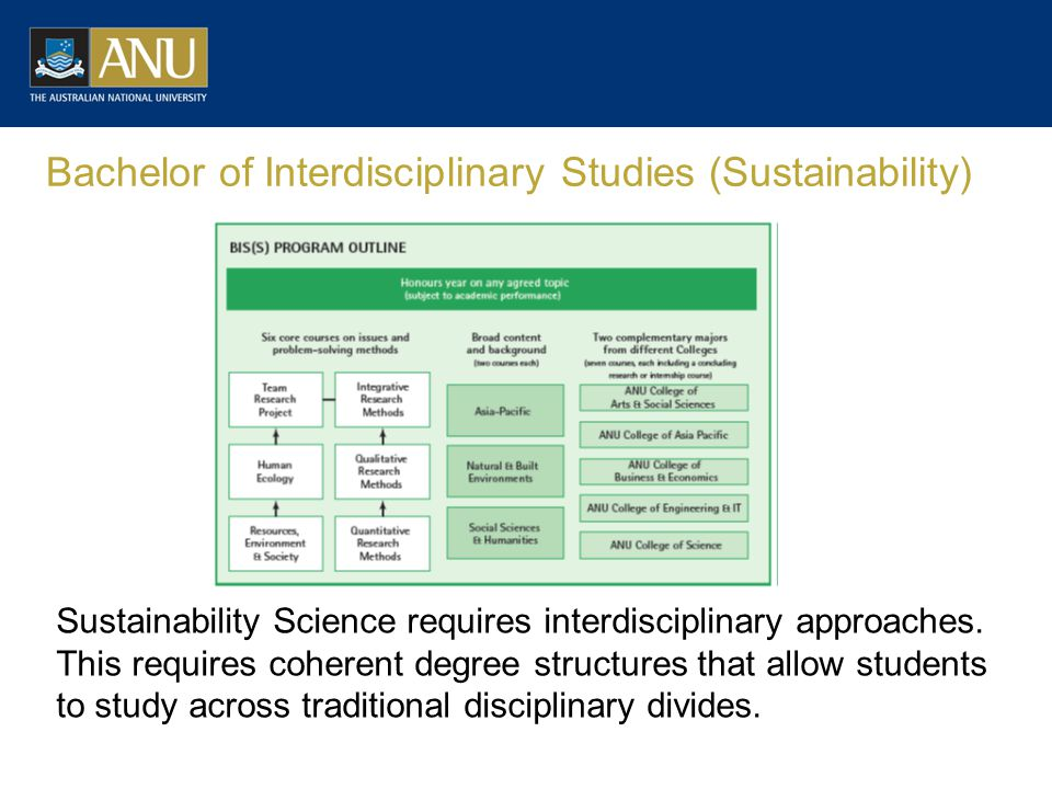 Bachelor of Interdisciplinary Studies (Sustainability) Sustainability Science requires interdisciplinary approaches.