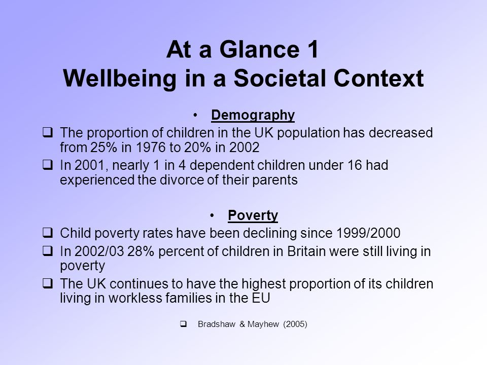 At a Glance 1 Wellbeing in a Societal Context Demography  The proportion of children in the UK population has decreased from 25% in 1976 to 20% in 2002  In 2001, nearly 1 in 4 dependent children under 16 had experienced the divorce of their parents Poverty  Child poverty rates have been declining since 1999/2000  In 2002/03 28% percent of children in Britain were still living in poverty  The UK continues to have the highest proportion of its children living in workless families in the EU  Bradshaw & Mayhew (2005)