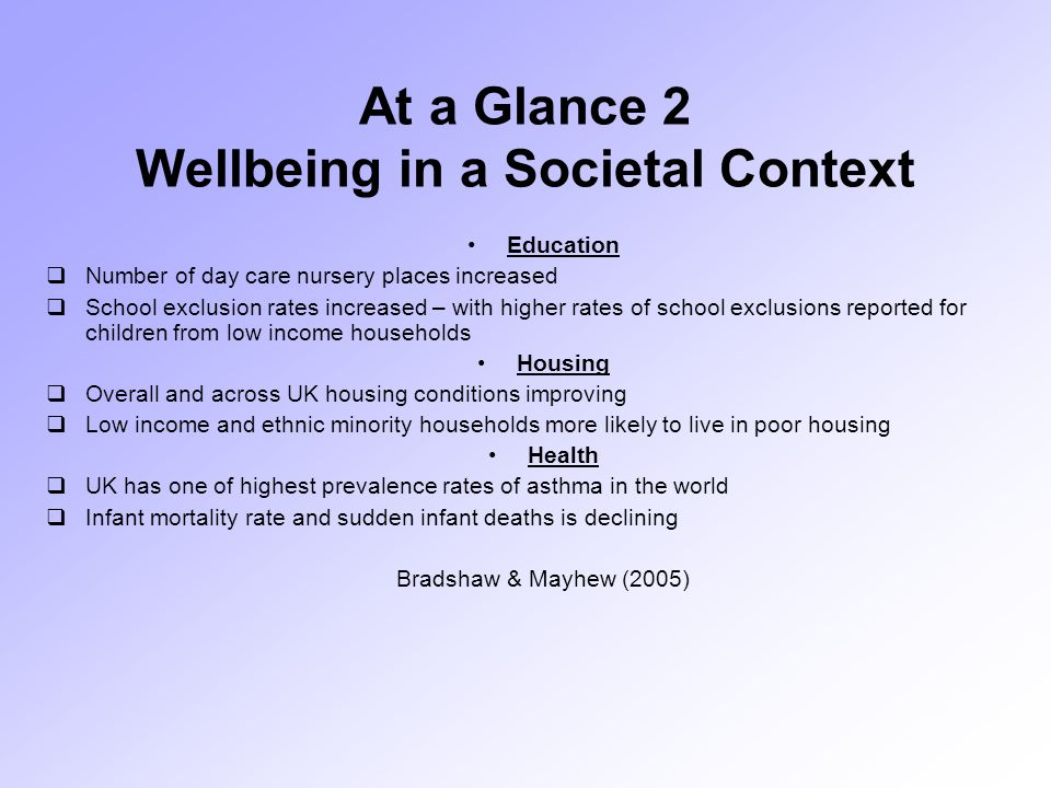 At a Glance 2 Wellbeing in a Societal Context Education  Number of day care nursery places increased  School exclusion rates increased – with higher rates of school exclusions reported for children from low income households Housing  Overall and across UK housing conditions improving  Low income and ethnic minority households more likely to live in poor housing Health  UK has one of highest prevalence rates of asthma in the world  Infant mortality rate and sudden infant deaths is declining Bradshaw & Mayhew (2005)