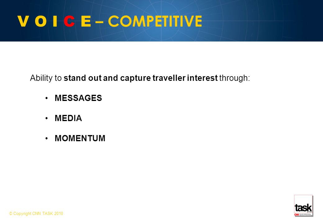 V O I C E – COMPETITIVE Ability to stand out and capture traveller interest through: MESSAGES MEDIA MOMENTUM © Copyright CNN TASK 2010