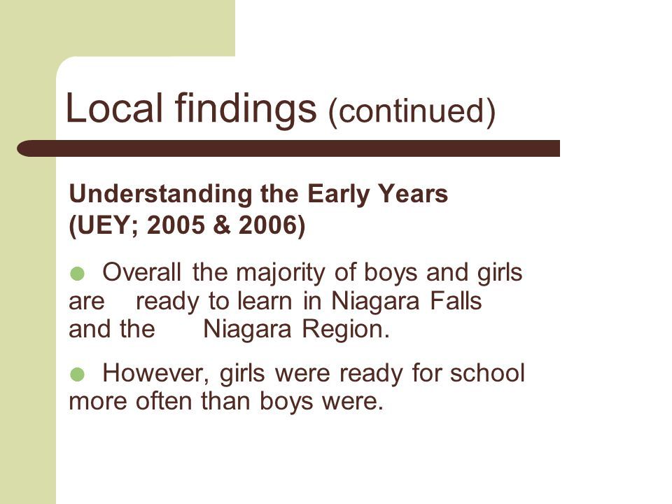 Local findings (continued) Understanding the Early Years (UEY; 2005 & 2006)  Overall the majority of boys and girls are ready to learn in Niagara Falls and the Niagara Region.