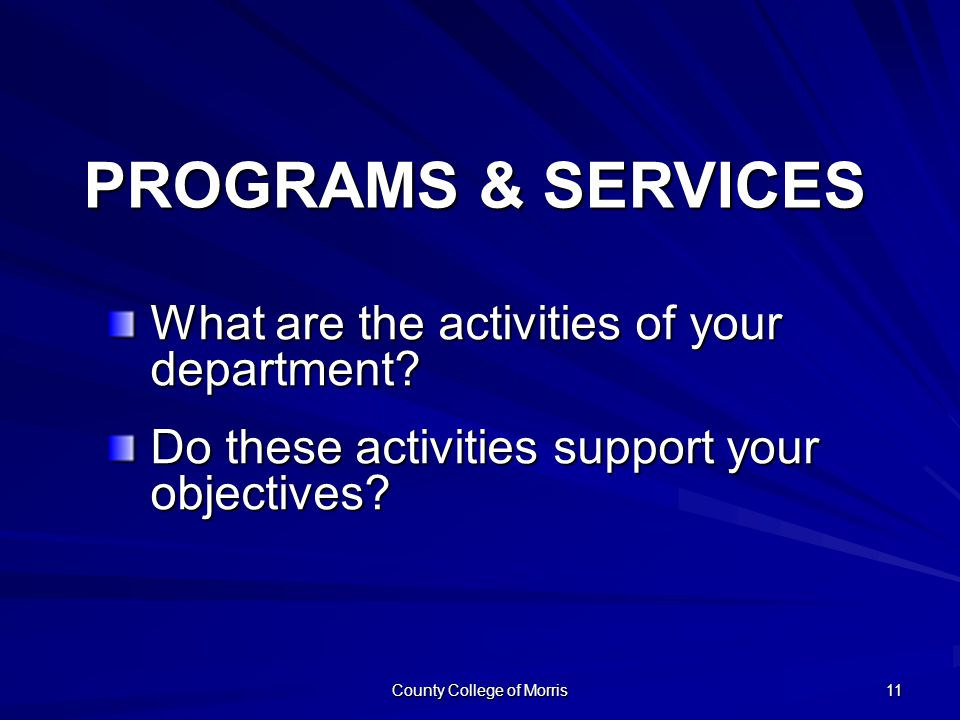County College of Morris 11 What are the activities of your department.