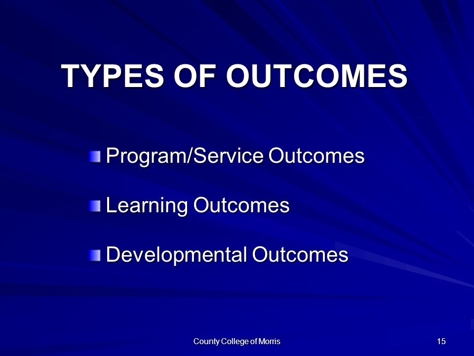 County College of Morris 15 TYPES OF OUTCOMES Program/Service Outcomes Learning Outcomes Developmental Outcomes