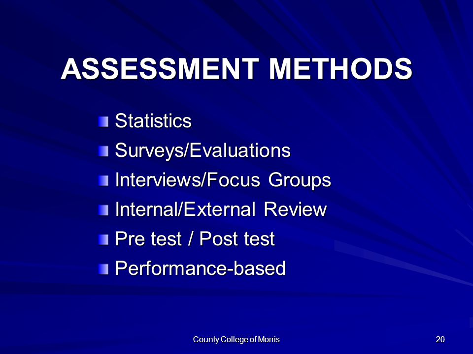 County College of Morris 20 ASSESSMENT METHODS StatisticsSurveys/Evaluations Interviews/Focus Groups Internal/External Review Pre test / Post test Performance-based