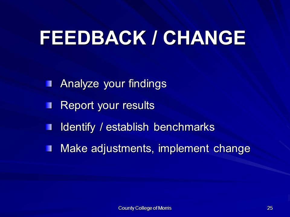 County College of Morris 25 Analyze your findings Report your results Identify / establish benchmarks Make adjustments, implement change FEEDBACK / CHANGE
