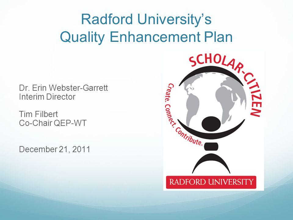 Radford University's Quality Enhancement Plan Dr.