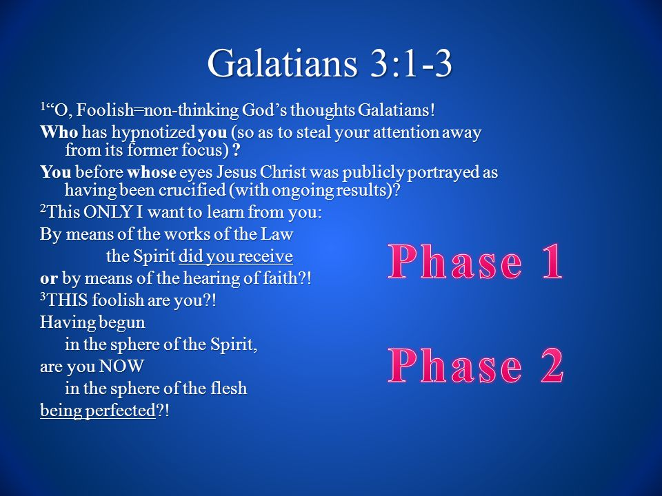 Galatians 3:1-3 1 O, Foolish=non-thinking God's thoughts Galatians.