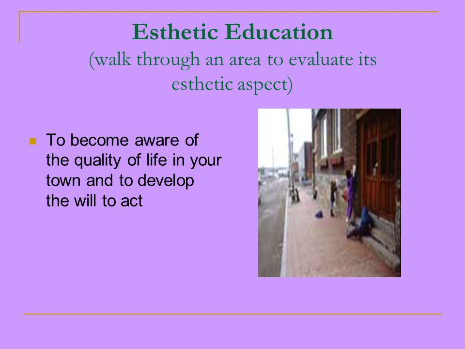 Esthetic Education (walk through an area to evaluate its esthetic aspect) To become aware of the quality of life in your town and to develop the will to act