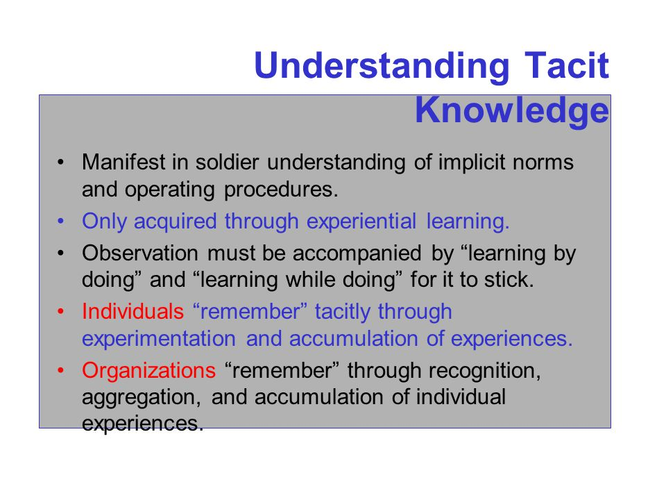 Understanding Tacit Knowledge Manifest in soldier understanding of implicit norms and operating procedures.