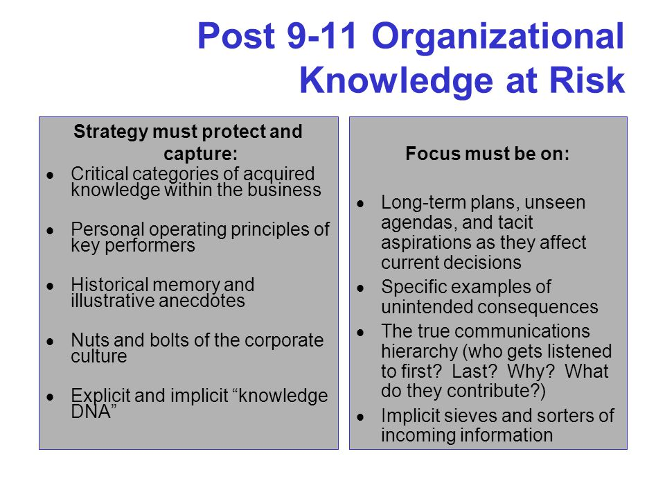 Post 9-11 Organizational Knowledge at Risk Strategy must protect and capture:  Critical categories of acquired knowledge within the business  Personal operating principles of key performers  Historical memory and illustrative anecdotes  Nuts and bolts of the corporate culture  Explicit and implicit knowledge DNA Focus must be on:  Long-term plans, unseen agendas, and tacit aspirations as they affect current decisions  Specific examples of unintended consequences  The true communications hierarchy (who gets listened to first.