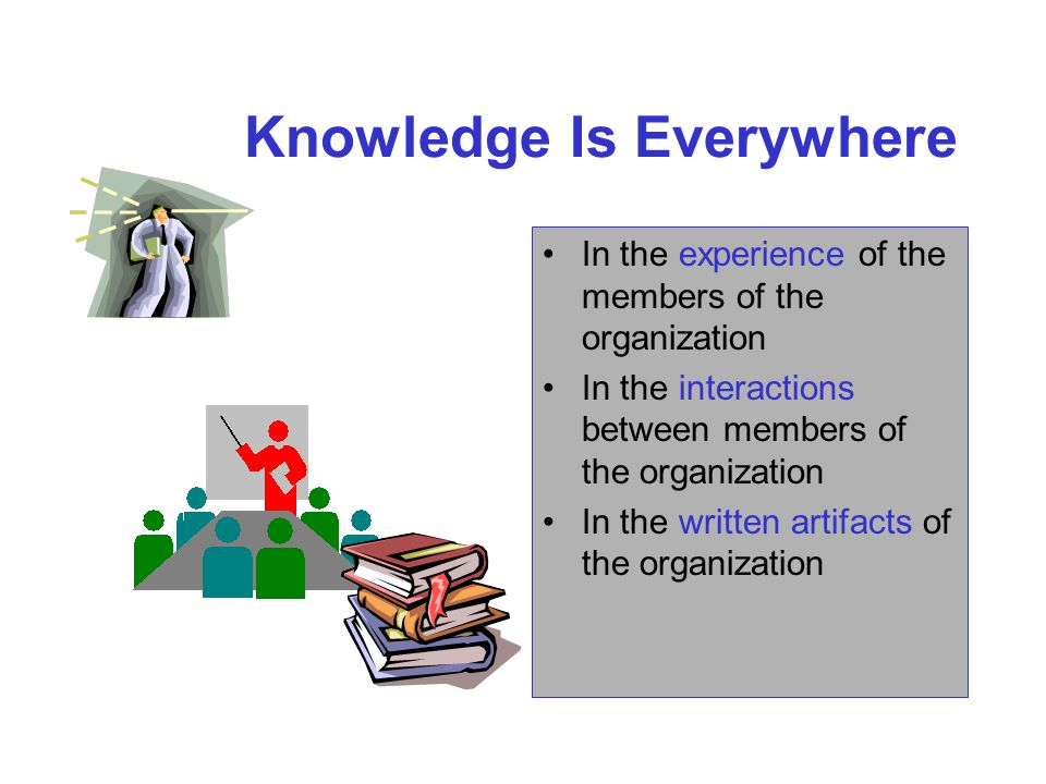 Knowledge Is Everywhere In the experience of the members of the organization In the interactions between members of the organization In the written artifacts of the organization