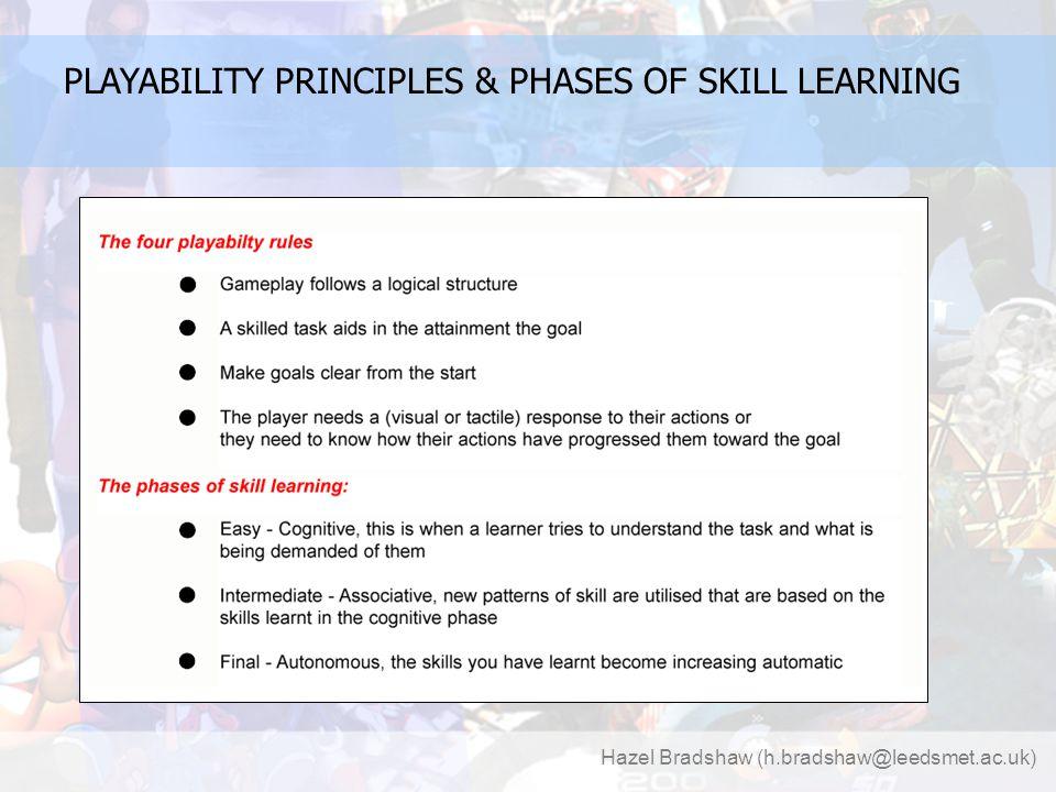 Hazel Bradshaw (h.bradshaw@leedsmet.ac.uk) PLAYABILITY PRINCIPLES & PHASES OF SKILL LEARNING