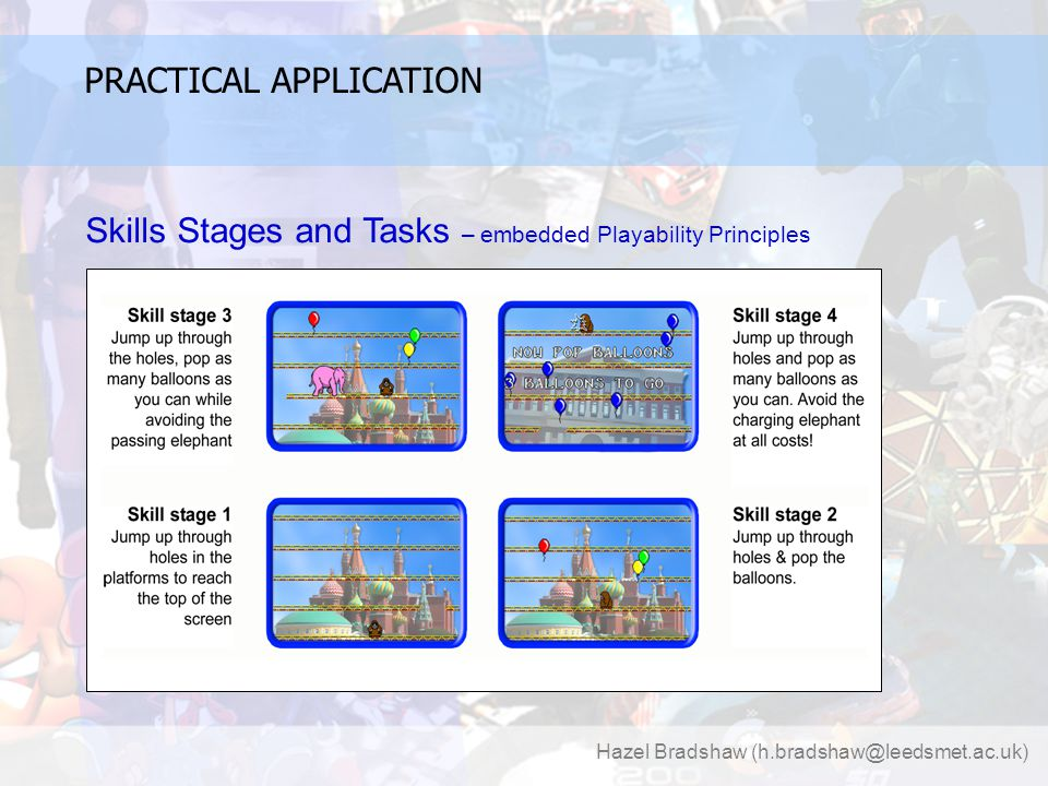 Hazel Bradshaw (h.bradshaw@leedsmet.ac.uk) PRACTICAL APPLICATION Skills Stages and Tasks – embedded Playability Principles