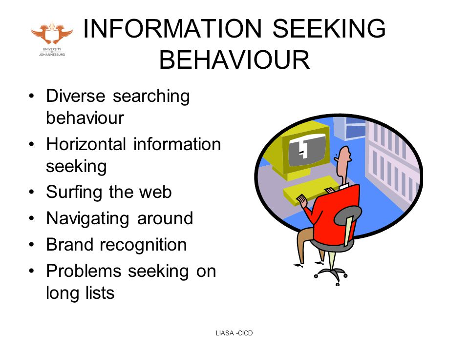 LIASA -CICD INFORMATION SEEKING BEHAVIOUR Diverse searching behaviour Horizontal information seeking Surfing the web Navigating around Brand recognition Problems seeking on long lists