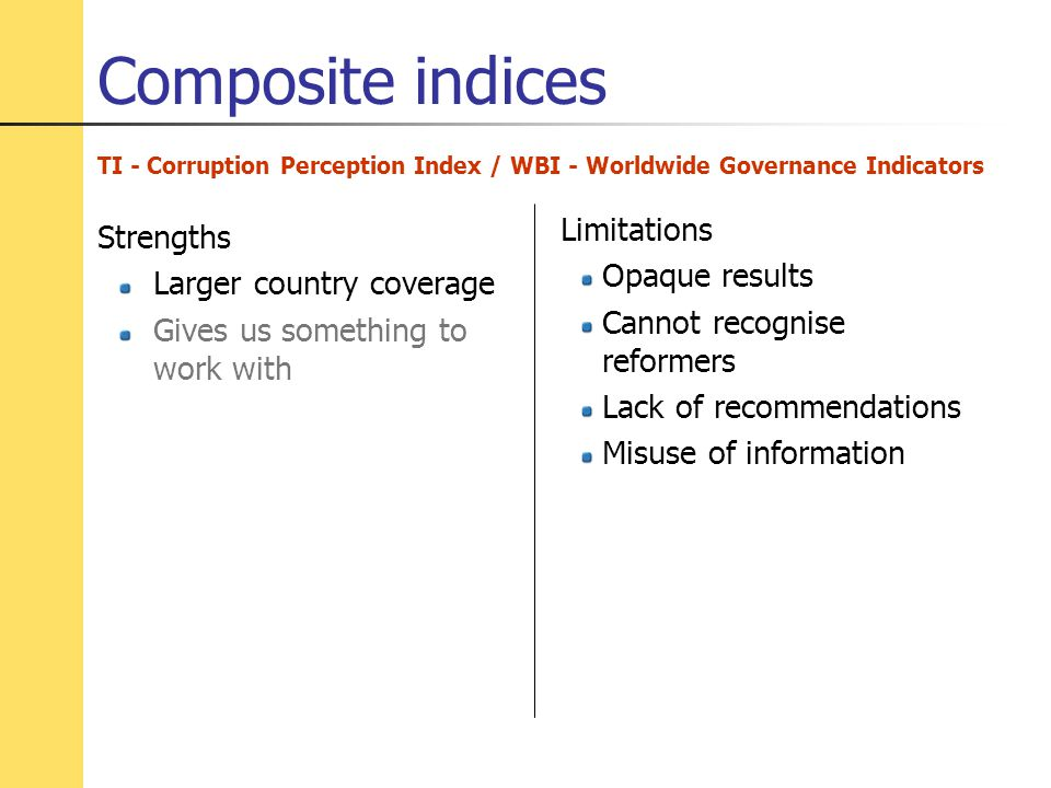 Composite indices TI - Corruption Perception Index / WBI - Worldwide Governance Indicators Strengths Larger country coverage Gives us something to work with Limitations Opaque results Cannot recognise reformers Lack of recommendations Misuse of information