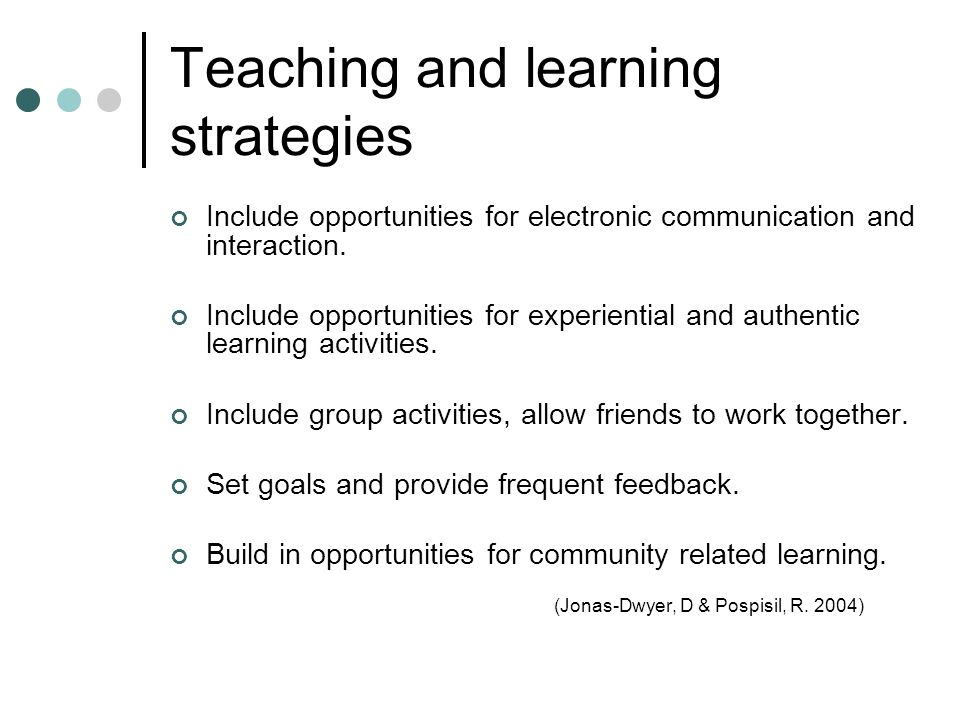 Teaching and learning strategies Include opportunities for electronic communication and interaction.