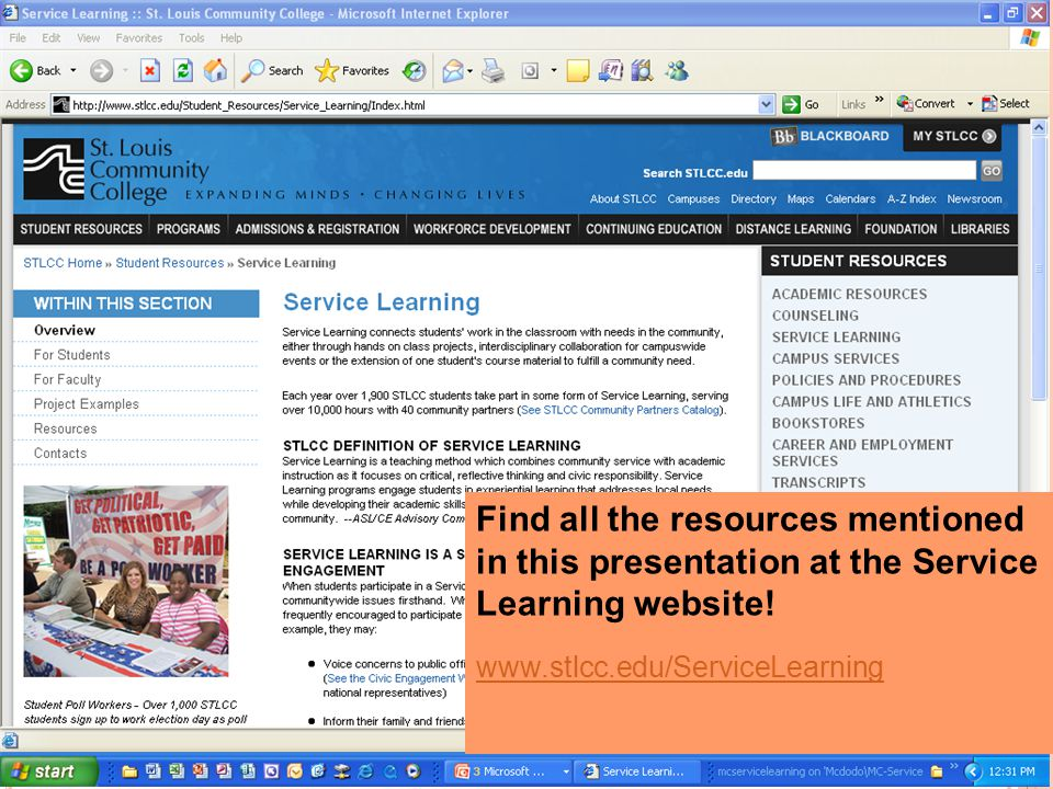 Find all the resources mentioned in this presentation at the Service Learning website.
