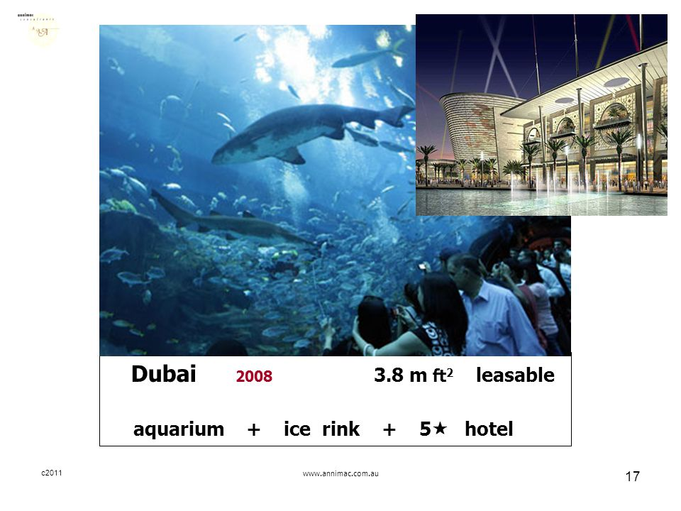 c2011www.annimac.com.au 17 Dubai 2008 3.8 m ft 2 leasable aquarium + ice rink + 5  hotel