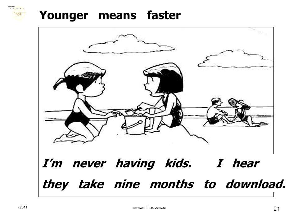 c2011www.annimac.com.au 21 Younger means faster I'm never having kids.