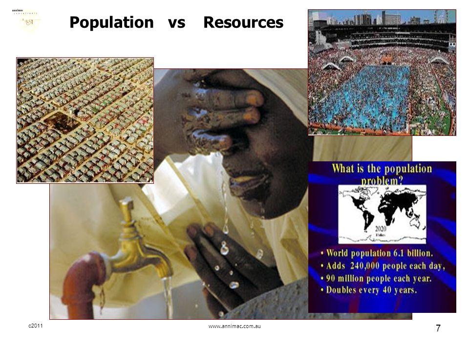 c2011www.annimac.com.au 7 Population vs Resources