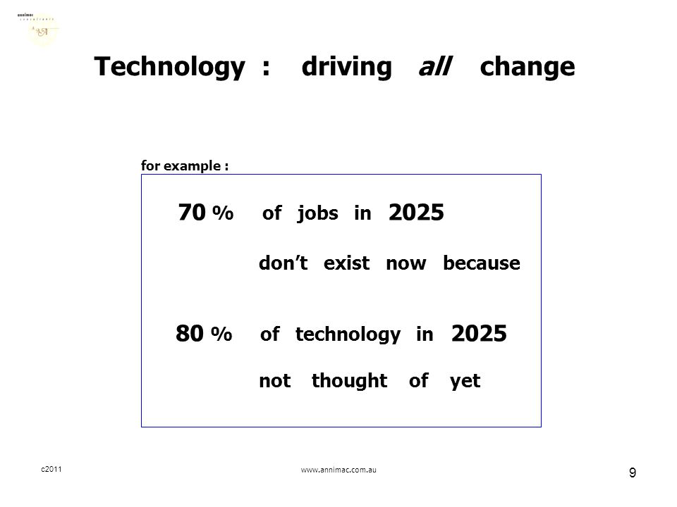 c2011www.annimac.com.au 9 Technology : driving all change for example : 70 % of jobs in 2025 don't exist now because 80 % of technology in 2025 not th