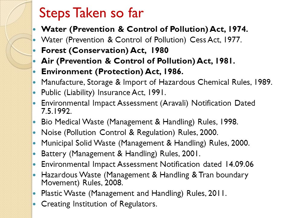 Rajasthan State Pollution Control Board Regulatory body constituted under the provisions of Water (Prevention & Control of Pollution) Act, 1974 in year 1975 Later on, different acts/rules were also enacted to control different types of pollution and responsibility of implementation of the these acts/rules was also entrusted to the State Board.