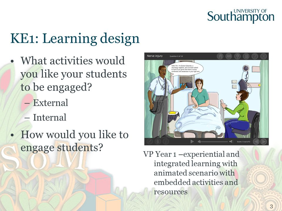 KE1: Learning design What activities would you like your students to be engaged.