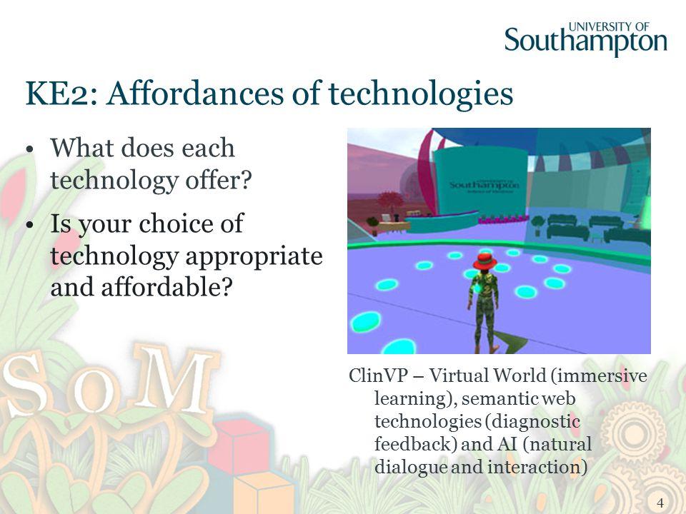 KE2: Affordances of technologies What does each technology offer.