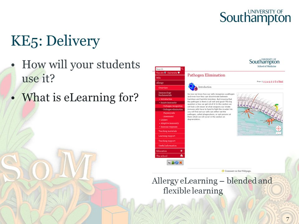 KE5: Delivery How will your students use it. What is eLearning for.