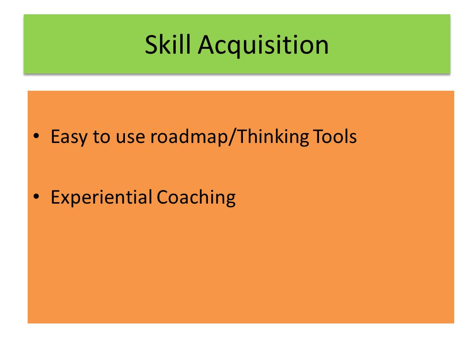Skill Acquisition Easy to use roadmap/Thinking Tools Experiential Coaching