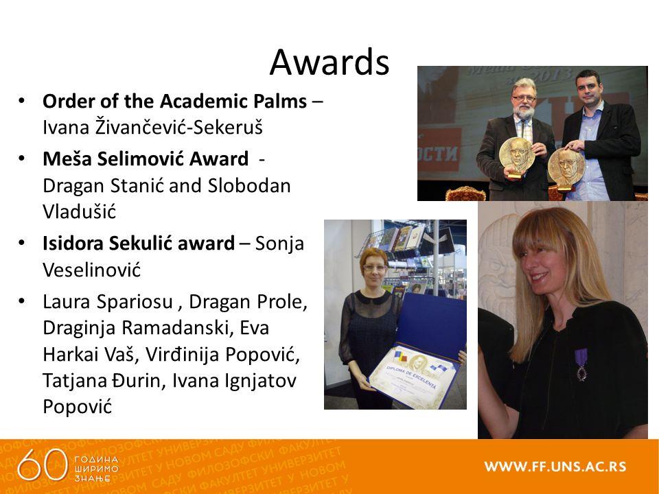Awards Order of the Academic Palms – Ivana Živančević-Sekeruš Meša Selimović Award - Dragan Stanić and Slobodan Vladušić Isidora Sekulić award – Sonja