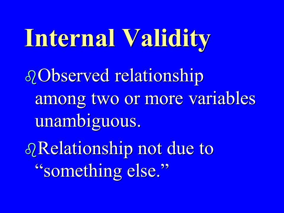 Validity -- 3 types b Instrument (measurement) b External (generalization) b Internal (ambiguity)