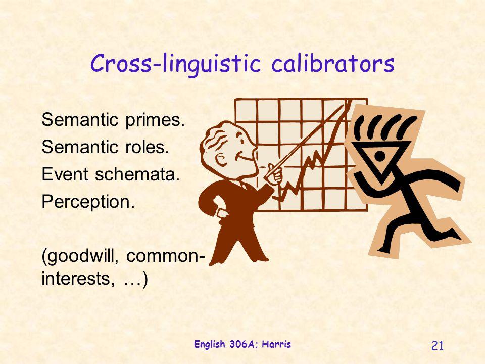 English 306A; Harris 21 Cross-linguistic calibrators Semantic primes.