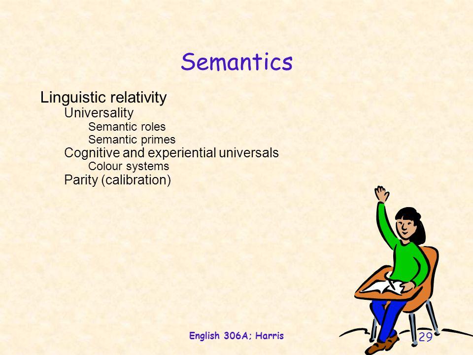 English 306A; Harris 29 Semantics Linguistic relativity Universality Semantic roles Semantic primes Cognitive and experiential universals Colour systems Parity (calibration)