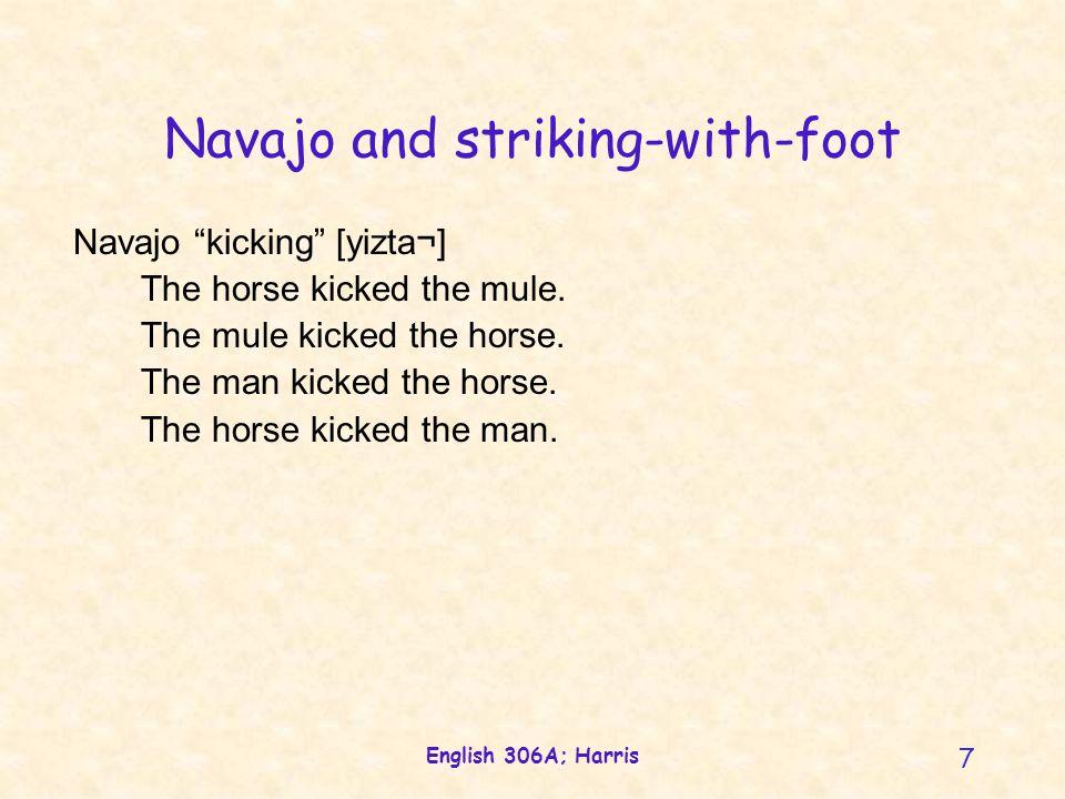 English 306A; Harris 7 Navajo and striking-with-foot Navajo kicking [yizta¬] The horse kicked the mule.