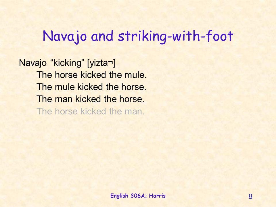 English 306A; Harris 8 Navajo and striking-with-foot Navajo kicking [yizta¬] The horse kicked the mule.