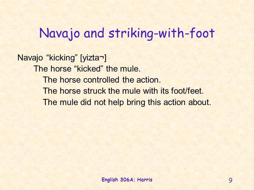 English 306A; Harris 9 Navajo and striking-with-foot Navajo kicking [yizta¬] The horse kicked the mule.