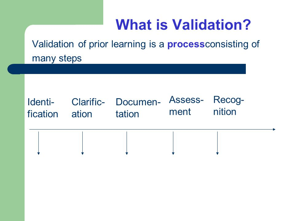 The process of validation of prior learning (VPL) Identi- fication Clarific- ation Documen- tation Assess- ment Recog- nition Steps 1,2,3,4,5 …