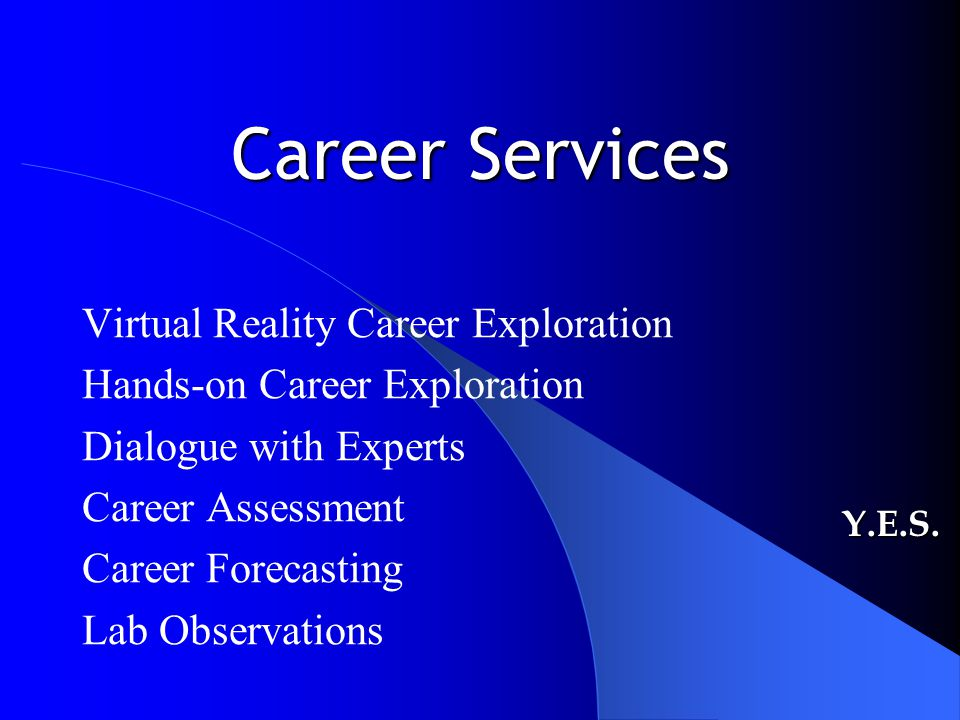 Career Services Virtual Reality Career Exploration Hands-on Career Exploration Dialogue with Experts Career Assessment Career Forecasting Lab Observat
