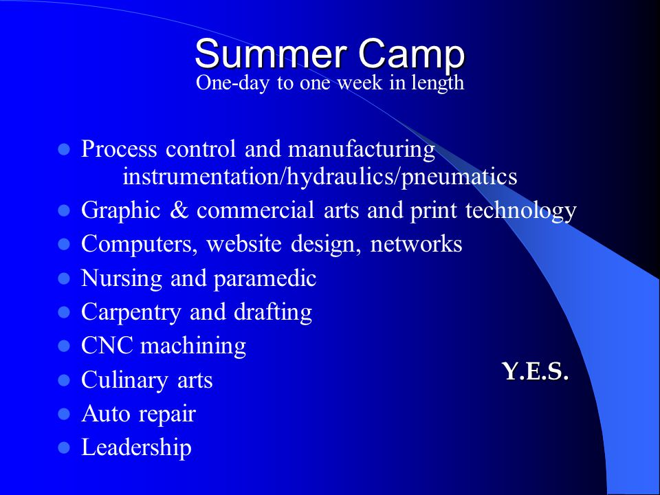 Summer Camp One-day to one week in length Process control and manufacturing instrumentation/hydraulics/pneumatics Graphic & commercial arts and print