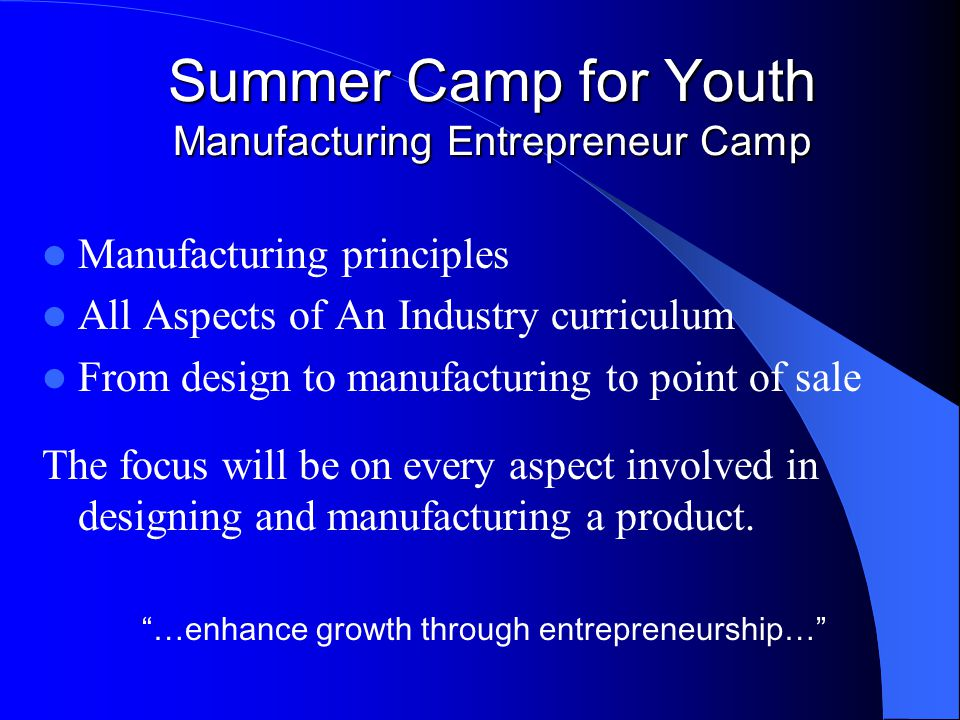 Summer Camp for Youth Manufacturing Entrepreneur Camp Manufacturing principles All Aspects of An Industry curriculum From design to manufacturing to p