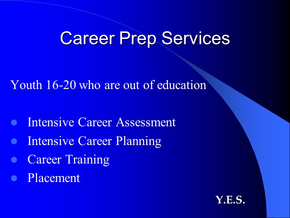 Career Prep Services Youth 16-20 who are out of education Intensive Career Assessment Intensive Career Planning Career Training Placement Y.E.S.