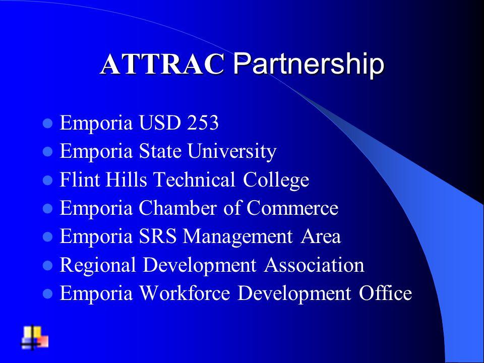 ATTRAC Partnership Emporia USD 253 Emporia State University Flint Hills Technical College Emporia Chamber of Commerce Emporia SRS Management Area Regional Development Association Emporia Workforce Development Office