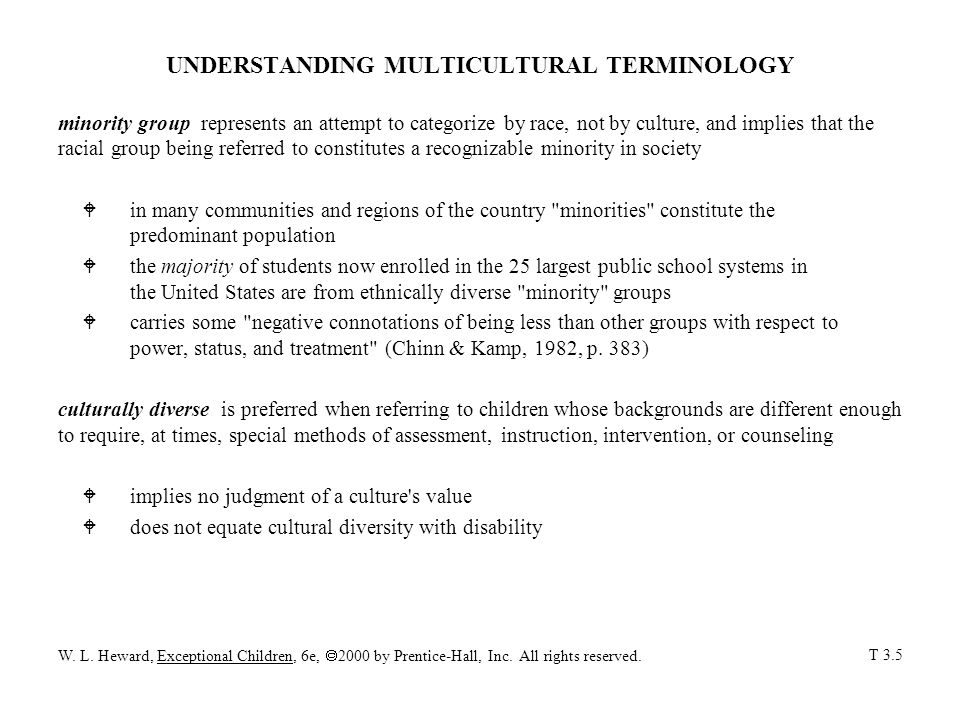 UNDERSTANDING MULTICULTURAL TERMINOLOGY minority group represents an attempt to categorize by race, not by culture, and implies that the racial group being referred to constitutes a recognizable minority in society W in many communities and regions of the country minorities constitute the predominant population W the majority of students now enrolled in the 25 largest public school systems in the United States are from ethnically diverse minority groups W carries some negative connotations of being less than other groups with respect to power, status, and treatment (Chinn & Kamp, 1982, p.