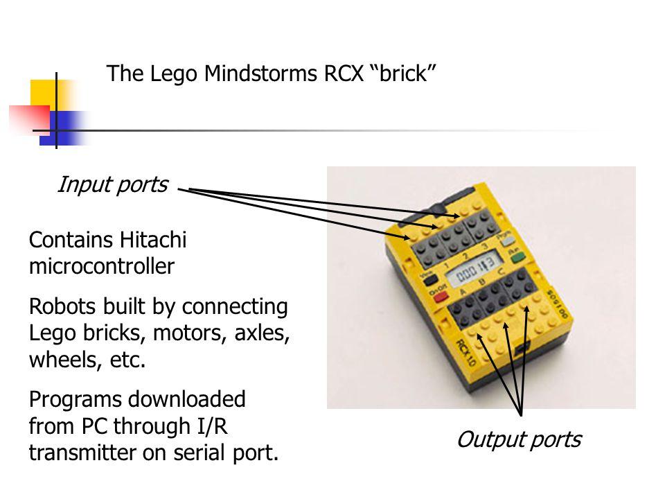 Input ports Output ports Contains Hitachi microcontroller Robots built by connecting Lego bricks, motors, axles, wheels, etc.