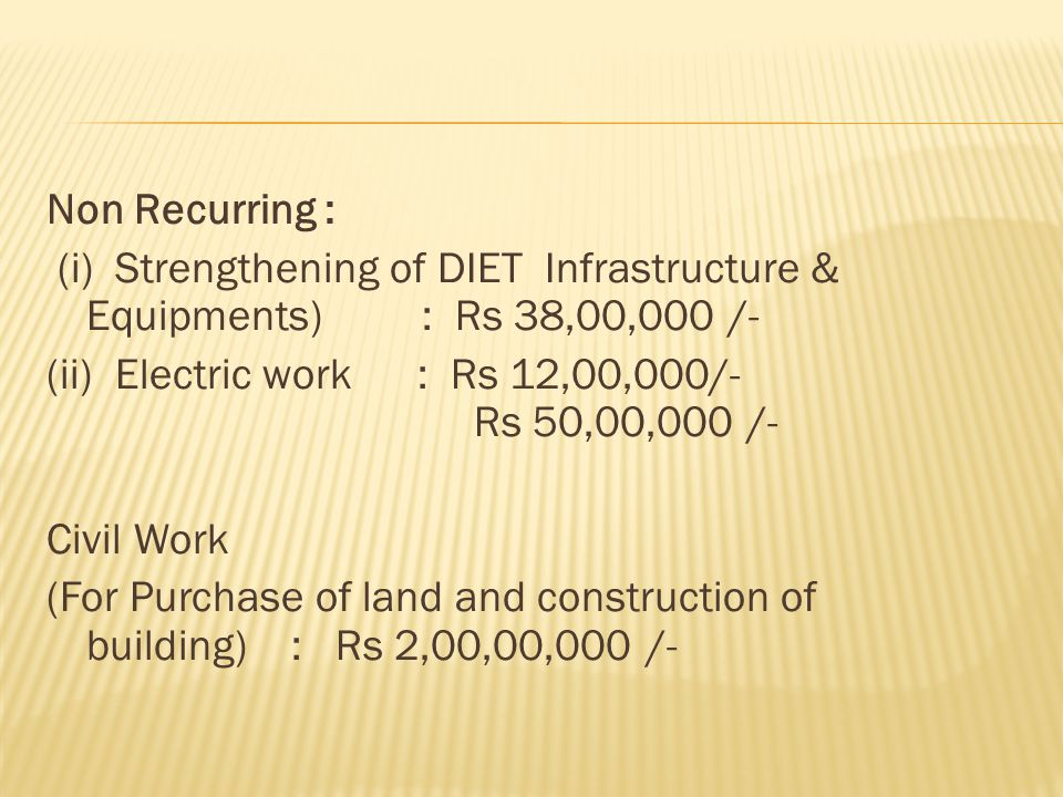 Non Recurring : (i) Strengthening of DIET Infrastructure & Equipments) : Rs 38,00,000 /- (ii) Electric work : Rs 12,00,000/- Rs 50,00,000 /- Civil Wor